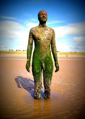 Another Place at Crosby Beach (chrisbell50000) Tags: shadow sculpture man reflection men beach water modern naked nude puddle penis sand iron place bare cock anthony another knob sculptures pornographic gormley crosby merseyside undressed blundellsands chrisbellphotocom