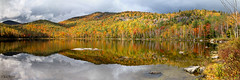 Round Pond ([Chris Tennant]) Tags: statepark autumn panorama ny newyork reflection fall nature colors leaves clouds pond stormy upstate adirondacks foliage adk keenevalley highpeaks 5dmkii christennantphotography