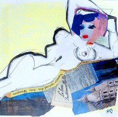 Romana, constructed female (PaulHelen2009) Tags: life woman abstract art collage female painting nude artwork artist drawing fine study helen expressionist watercolour colourful matisse gorrill