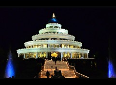 The Art of Living..... (mseema) Tags: india fountain colors night lights nightshot bangalore silence spirituality karnataka srisri guru vm guruji srisriravishankar vmhall aolashram fullylit seemam mseema vishalakshimandap theartoflivinginternationalcentre aolinternationcentre aolashrambangalore fullylitbuilding artoflivingphotos