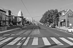 Fishtown, looking West down Girard Ave (damonabnormal) Tags: street city blackandwhite bw philadelphia october fuji philly phl fujinon fishtown 2012 urbanite x100