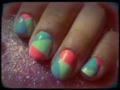 Unha Geometrica (Mayra Arnaldo Chomski) Tags: verde azul marina rosa unhas ch caipirinha risque colorida unha capricho colorama geometrica