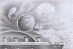It's not a Dream. - ''Universo Insolito'' - (Unusual and Weird Space) - chapter4 (Enrico Ercolani art.) Tags: sky fish weird sketch ship drawing space drawings unusual titanic universe disegno enrico insolito ercolani