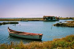 (CrippleHorse) Tags: sea landscape boat thessaloniki nikonfe2 riverdelta kodakektar kalochori