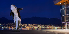 Digital Orca (Alexis Birkill Photography) Tags: city panorama sculpture mountains vancouver lights depthoffield whale bluehour conventioncentre brenizermethod digitalorca