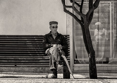 'On Reflection' (Canadapt) Tags: street man reflection tree portugal window cane bench sitting elder seated loures canadapt