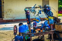 A mobile bike repair shop.