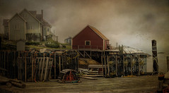 Life in Peggy's Cove (Carolyn Little) Tags: peggyscove novascotia lobster fishing ocean red house fog rocks traps texture kurtpeiserexcellence