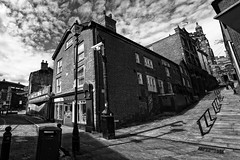 Around the corner (JEFF CARR IMAGES) Tags: select northwestengland blackandwhite streets towncentres