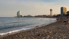 La Barceloneta (chlo.b.11) Tags: barcelona barcelone espana spain espagne catalunya catalogne beach sand sunset hotel sea mediterrannean sky reflects seascape waves