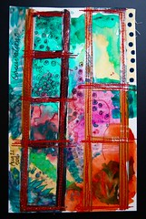 Observations (Explored 8-21-16...Thank You! ) (opal c) Tags: paint stitching stitches card acrylics fabric