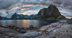 Lofoten panaroma at sunset from Hamny (marko.erman) Tags: lofoten islands archipelo hamny norway reine sunset panorama landscape stitching stitched sony wide angle uwa reflection reflections water sea clouds sky colors nature pov view serene serenity beauty beautiful mountains outside