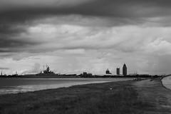 Mobile Bay_P1130856r (Wampa-One) Tags: mobilebay mobileal mobile alabama ussalabama battleship skyline blackandwhite
