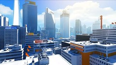 Mirror's Edge, 2009 (Video Games Art) Tags: minimalism videogame videogames jeuvideo jeuxvideo mirrorsedge urban city panorama bleu blue tower towers hightower hightowers atmospere orange