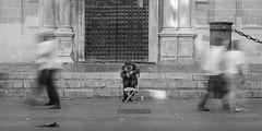 El paso del tiempo (daglone) Tags: men time peole black white balnco y negro el paso del tiempo mendigo hombre calle catedral sevilla indiferencia pobreza poor indigente