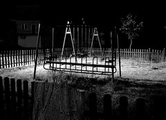 Playground (sanDr.a.92) Tags: black white bw playground night swings outside outdoor dark