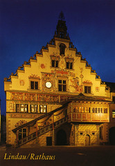 postcard - Lindau, Germany (Jassy-50) Tags: postcard lindau germany bodensee lakeconstance lake island night rathaus cityhall building architecture