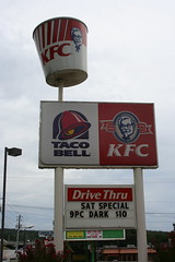 Kentucky Fried Chicken / Taco Bell Sign - Lithonia, GA (briangiwojna) Tags: food chicken sign georgia restaurant bucket bell kentucky tacos fast taco kfc 70s 1970s fried lithonia