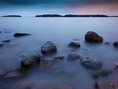 Night shore (blaahhi) Tags: longexposure sea seascape helsinki balticsea shore lauttasaari 714mmf4 panasoniclumixgh2