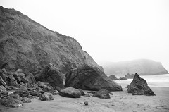 Bare Earth (verdantperish) Tags: ocean sanfrancisco california light blackandwhite abstract art beach nature fog stone analog 35mm landscape photography rocks earth surreal silence isolation filmphotography verdantperish chavlena