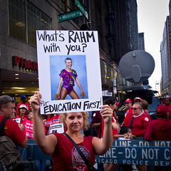 Put Education First (**PhotoSchmoto**) Tags: street leica city red people urban chicago news history students sign parents illinois education downtown mayor labor politics union rally protest culture streetphotography photojournalism historic teacher demonstration event strike schools freedomofspeech teachers economy cps ctu emanuel global picket chicagoist picketing rahm rahmemanuel faircontract