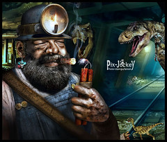 HAPPY 85TH, BUD! (The PIX-JOCKEY (visual fantasist)) Tags: portrait art photoshop mine dinosaur joke contest fake surreal cigar humour fantasy vip photomontage chop dynamite worth1000 jurassic miner drer fotomontaggi budspencer robertorizzato pixjockey