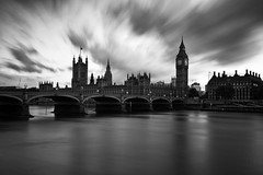 Time and Motion (Daniel Borg) Tags: uk longexposure sunset england sky blackandwhite bw black blur london water westminster thames skyline clouds long unitedkingdom housesofparliament parliament southbank olympics embankment canon1022 canon550d