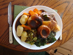 Sunday Roast #2 (Moldovia) Tags: food potatoes knife fork gravy peas lamb pointandshoot carrots roastpotatoes pointshoot sundayroast yorkshirepuddings sonydscw300