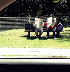 (rafalweb (moved)) Tags: street red people woman man green apple bench person reading newspaper sitting streetphotography cellphone camerphone iphone ruleofthirds photoscape