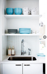 Black, white & turquoise home of Stacey Cohen (Muriel Alvarez) Tags: blue white house black home kitchen bedroom desk turquoise stickers murals homeoffice decals homedecor