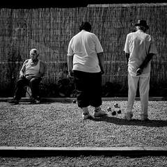 Jeux de Boulles (joram68) Tags: street old city bw white man black france 6x6 field vintage ball square fuji play balls 11 finepix 1x1 reu jeux boulle x100 joram boulles lensblr