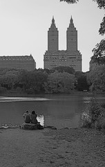 The San Remo (Paul DeSilva) Tags: nyc newyorkcity trees ny newyork water monochrome reflections pond couple apartments sitting centralpark manhattan towers romance highrise upperwestside 10023 romantic ripples ramble sanremo uws centralparkwest waterreflections emeryroth sanremoapartments