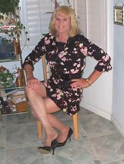 Black&Pink Flowered Skirt/Blouse (bobbievnc) Tags: black tv highheels legs cd skirt tgirl short blonde pantyhose crossdresser nylons shemale shortskirt flowered tanpantyhose
