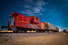 Night Train (dejavue.us) Tags: california longexposure nightphotography railroad red moon lightpainting santafe abandoned digital train nikon desert railway caboose fullmoon junkyard siding derelict mojavedesert boron d90 vle 1224mmf40g paulsjunkyard