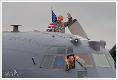 GOOD MORNING (Gaz West) Tags: good morning pair usaf c130 crew members waving early campers fairford interesting explore explored