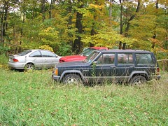 THE HONDA  DODGE AND THE JEEP IN 2012 (richie 59) Tags: autumn trees usa overgrown car america truck honda outside us unitedstates jeep 4x4 pickuptruck vehicles dodge civic newyorkstate mopar oldcar suv sideview oldtruck laredo dakota coupe automobiles jeepcherokee dodgedakota 2012 4wheeldrive nystate hondacivic silvercar hudsonvalley redtruck 2door 1998dodgedakota dodgetruck hondacoupe motorvehicles fadedpaint ulstercounty oldpickuptruck 4door americantruck dodgepickuptruck midhudsonvalley olddodge fourdoor japanesecar ulstercountyny chryslercorporation stonyhollow oldsuv civiccoupe ustruck jeepcherokeelaredo bluesuv oldcoupe americansuv 4doorsuv townofkingston richie59 1990scar 1990struck 1998dodge jeepsuv oct2012 fourdoorsuv stonyhollowny oct72012 townofkingstonny 1998dakota 1980ssuv