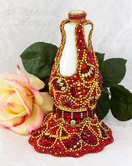 MadameRojasByVerdonnaWestcott (Verdonna.com) Tags: red glass lady milk dress mosaic victorian vase gown paisley rhinestone rhinestones mehndi httpwwwverdonnacom