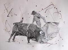 Quick Step. (www.kevinmaxwellsfineart.com) Tags: bulls bullfighting josetomas graphite chinagraph blood anegitive blackandwhite toros torosymatadores matadores drawing spanish espana quickstep