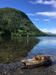 Jenta i vatnet -|- Girl in lake (erlingsi) Tags: erlingsi iphone lake rotevatn volda jente girl vatn norway mountain rotsethorn noreg sunnmre trunk stubbe