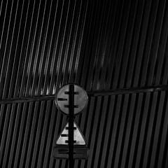//...///O/\ (zventure,) Tags: noiretblanc nice alpesmaritimes aube abstrait rayures panneauxdesignalisation monochrome noir nuit ombre square bordsduvar blackandwhite lignes rond triangle