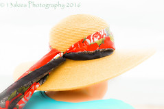 The Hat (HSS) (13skies) Tags: happyslidersunday hat beach highkey sunny bright strawhat scarf