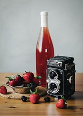Vinum [Explored] (davelawrence8) Tags: explore explored 6d 2016 home naturemorte project seasons stilllife vsco horton mi usa wine strawberries yashica yashicamat124 filmcamera camera blackberries summer