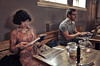 Kazuko Reading (nigelhunter) Tags: infocus smallgroup longshot highquality woman japenese oriental reading kazuko coffee book cup cafe man laptop computer street candid urban pen syphon seat table