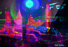 City Night (brillianthues) Tags: city urban philadelphia bridge colorful collage photography photmanuplation photoshop