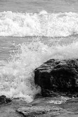 Crashing Waves at Marblehead (K.G.Hawes) Tags: black white blackandwhite bw monochrome monochromatic coast erie greatlakes lake lakeerie rock rocks rocky splash splashing water wave waves