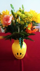 FLOWERS FOR A HAPPY BIRTHDAY, ANNIVERSARY & NEW HOME (Visual Images1) Tags: flowers vase happyface yellow birthday