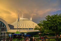 Space Mountain Sunset (KEBSD) Tags: space mountain disney magic kingdom tomorrowland sunset clouds storm florida