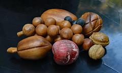 Still Life (BKHagar *Kim*) Tags: bkhagar fruit nut wood wooden chalkware stilllife dark background