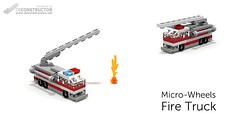 Micro-Wheels: Fire Truck (deConstructor's) Tags: lego ldd micro scale microscale custom fire truck engine red white gray grey flame