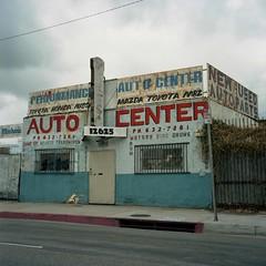 Auto Center, Compton (ADMurr) Tags: la southla alameda auto car repair blue red street rolleiflex planar zeiss kodak ektar mf 6x6 text sign letters compton 2015